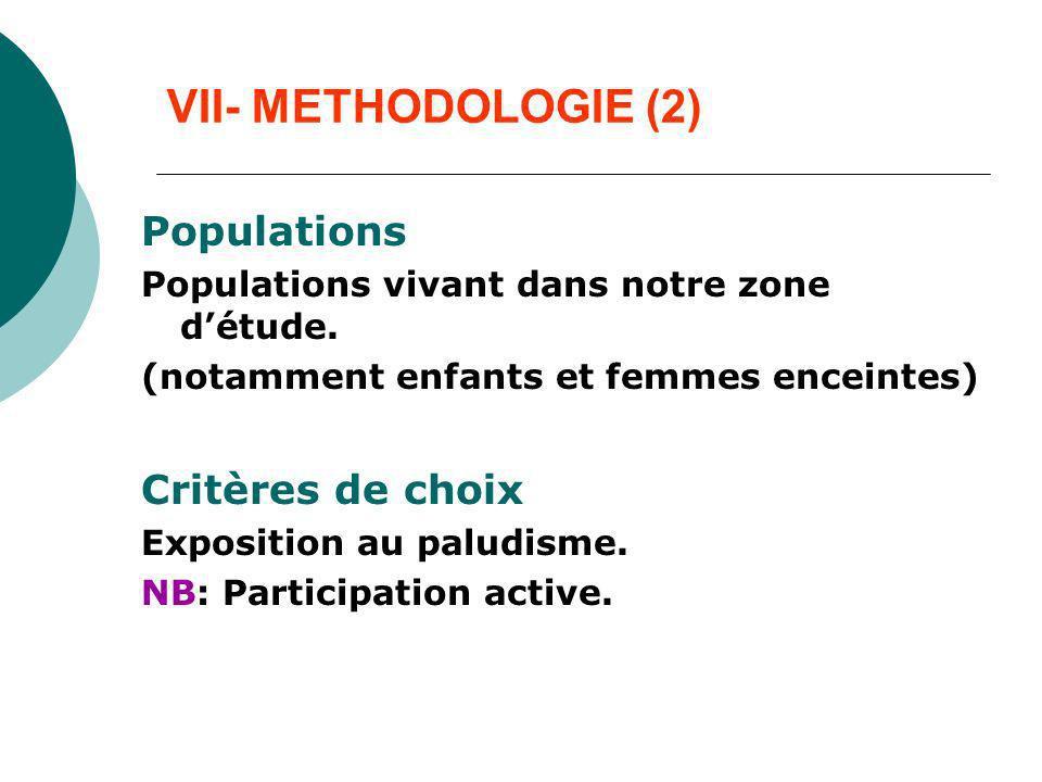 VII- METHODOLOGIE (2) Populations Populations vivant dans notre zone détude. (notamment enfants et femmes enceintes) Critères de choix Exposition au p