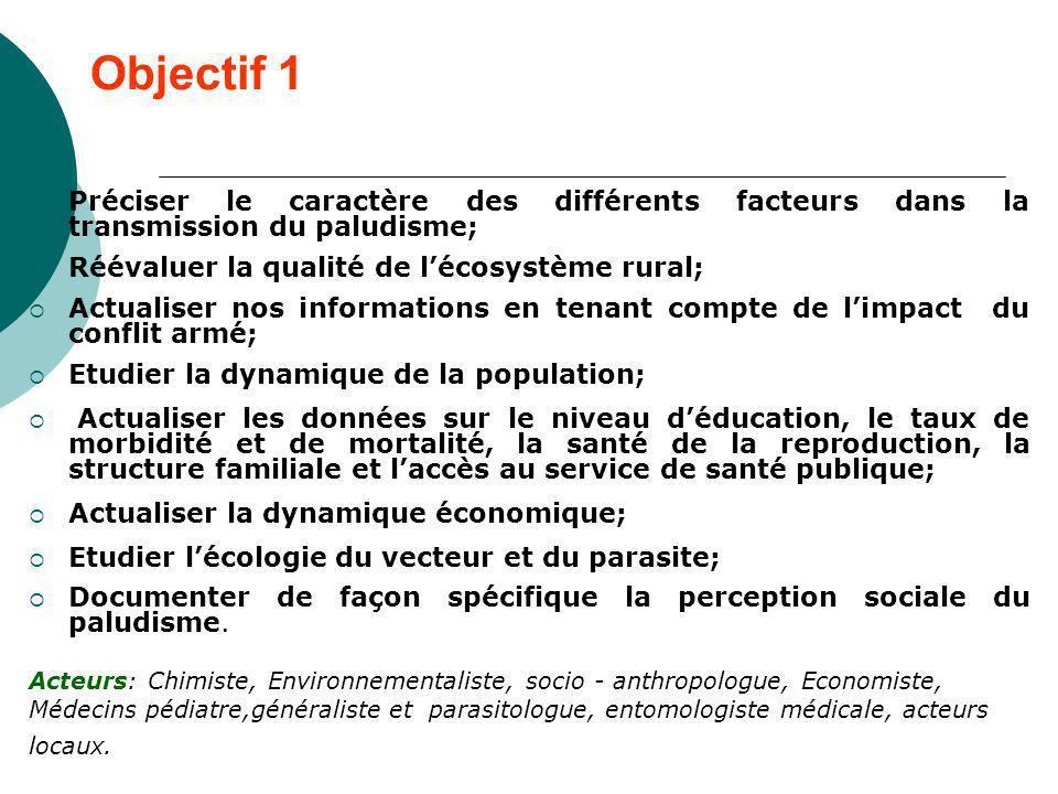 Objectif 1 Préciser le caractère des différents facteurs dans la transmission du paludisme; Réévaluer la qualité de lécosystème rural; Actualiser nos