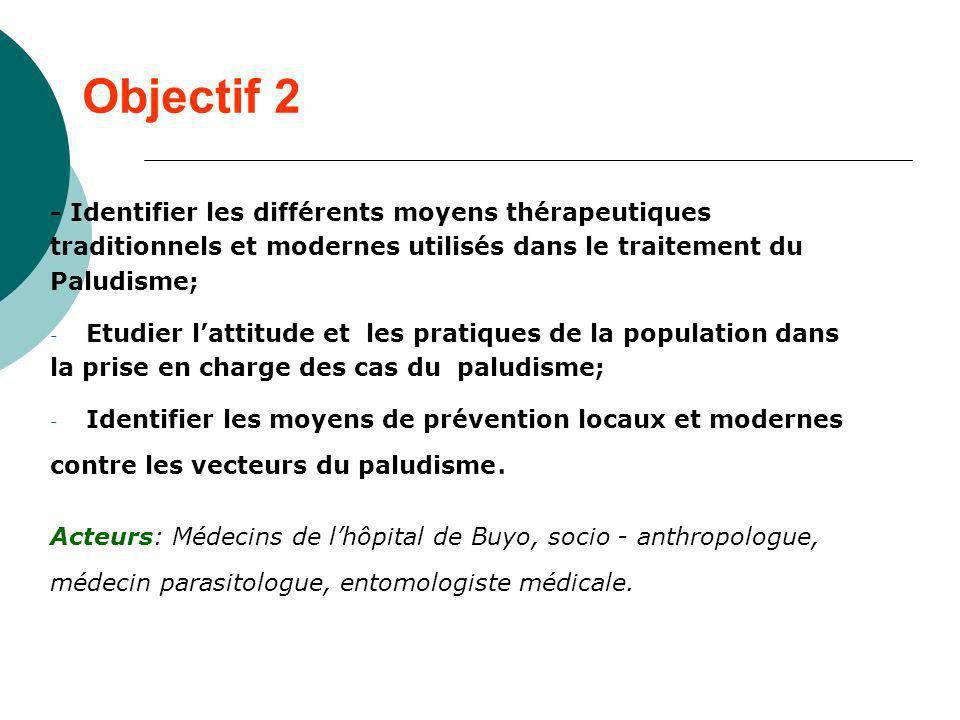 Objectif 2 - Identifier les différents moyens thérapeutiques traditionnels et modernes utilisés dans le traitement du Paludisme; - Etudier lattitude e