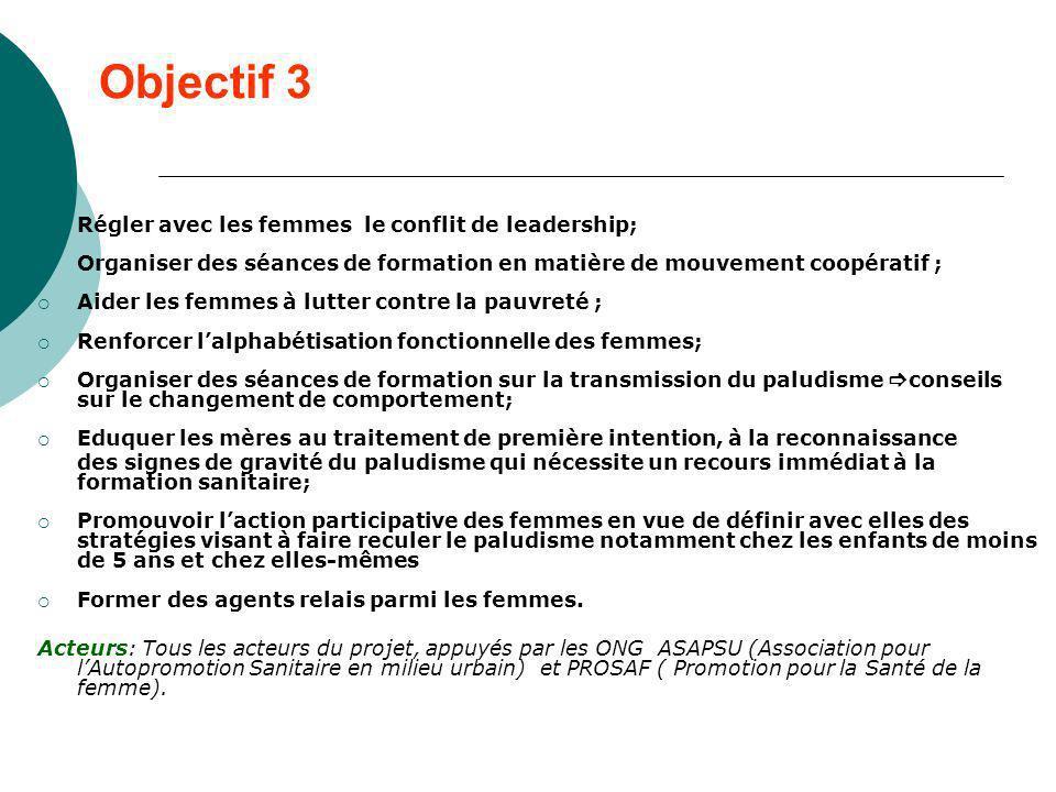 Objectif 3 Régler avec les femmes le conflit de leadership; Organiser des séances de formation en matière de mouvement coopératif ; Aider les femmes à