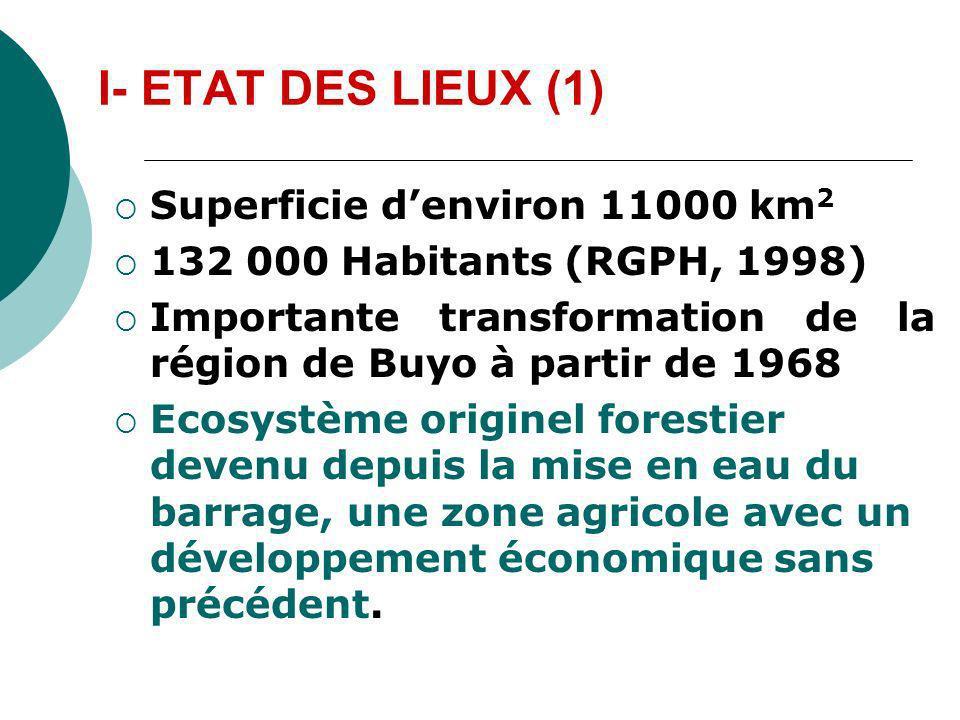 I- ETAT DES LIEUX (1) Superficie denviron 11000 km 2 132 000 Habitants (RGPH, 1998) Importante transformation de la région de Buyo à partir de 1968 Ec