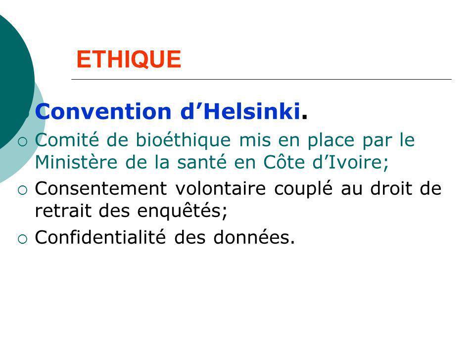 ETHIQUE Convention dHelsinki. Comité de bioéthique mis en place par le Ministère de la santé en Côte dIvoire; Consentement volontaire couplé au droit