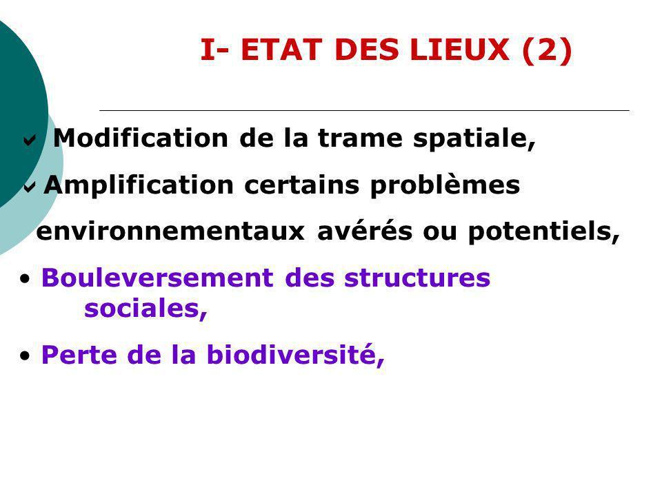 I- ETAT DES LIEUX (2) Modification de la trame spatiale, Amplification certains problèmes environnementaux avérés ou potentiels, Bouleversement des st