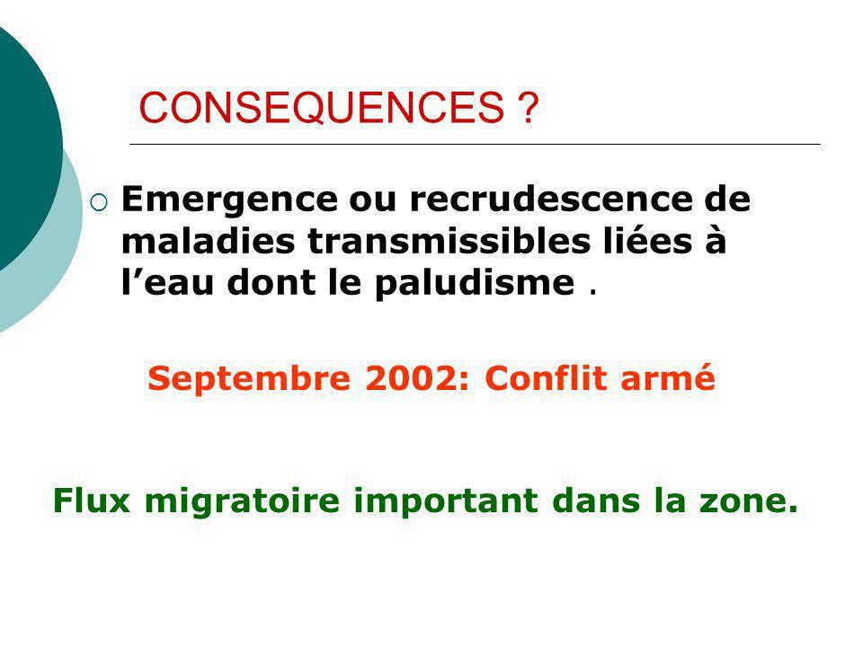 CONSEQUENCES ? Emergence ou recrudescence de maladies transmissibles liées à leau dont le paludisme. Septembre 2002: Conflit armé Flux migratoire impo