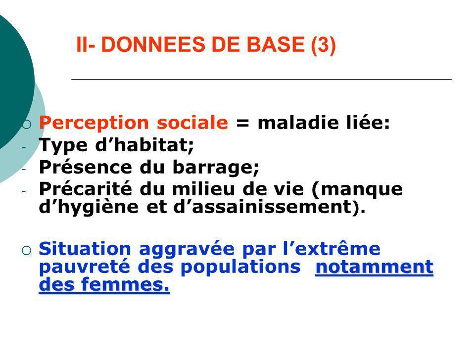 II- DONNEES DE BASE (3) Perception sociale = maladie liée: - Type dhabitat; - Présence du barrage; - Précarité du milieu de vie (manque dhygiène et da