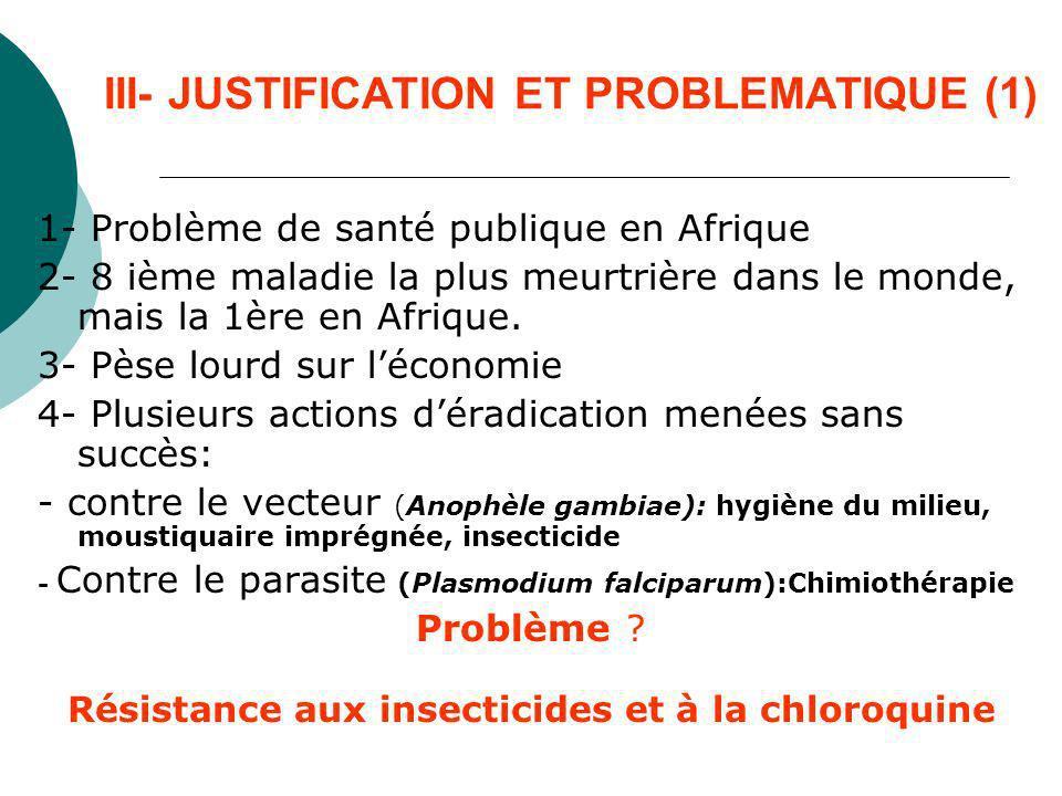 III- JUSTIFICATION ET PROBLEMATIQUE (2) Contexte de lapproche écosystémique à la santé - Souches de plus en plus résistantes aux molécules actuelles.