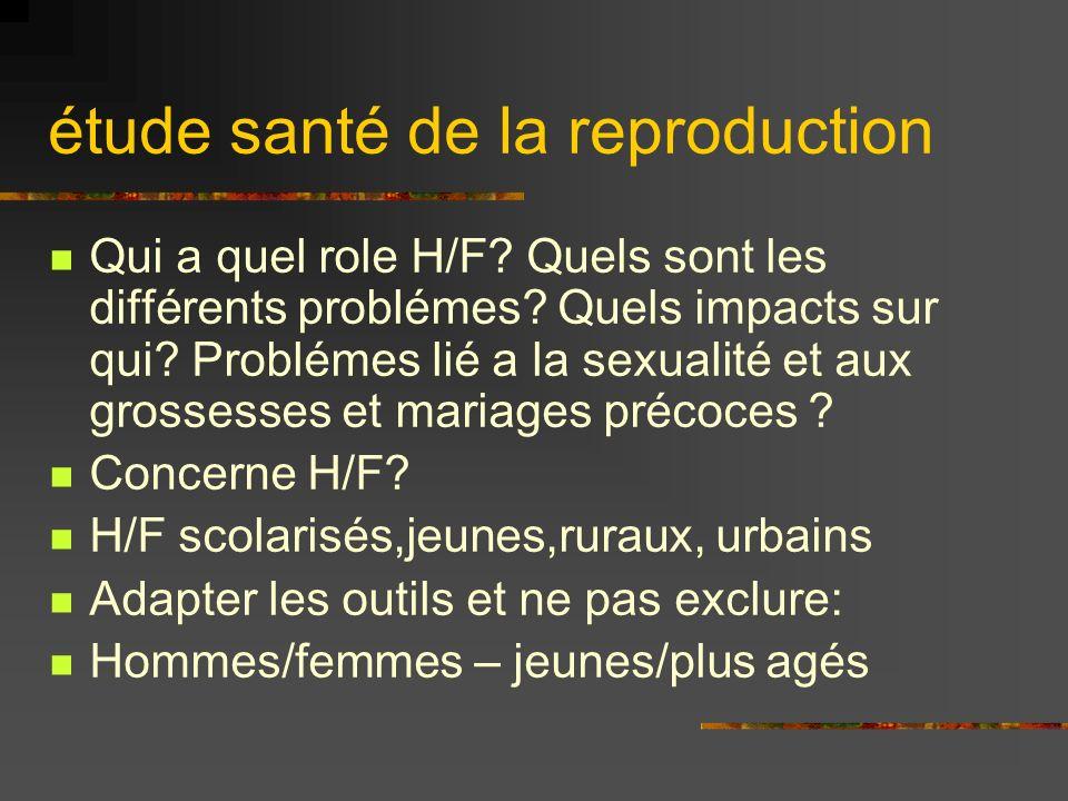 étude santé de la reproduction Qui a quel role H/F.