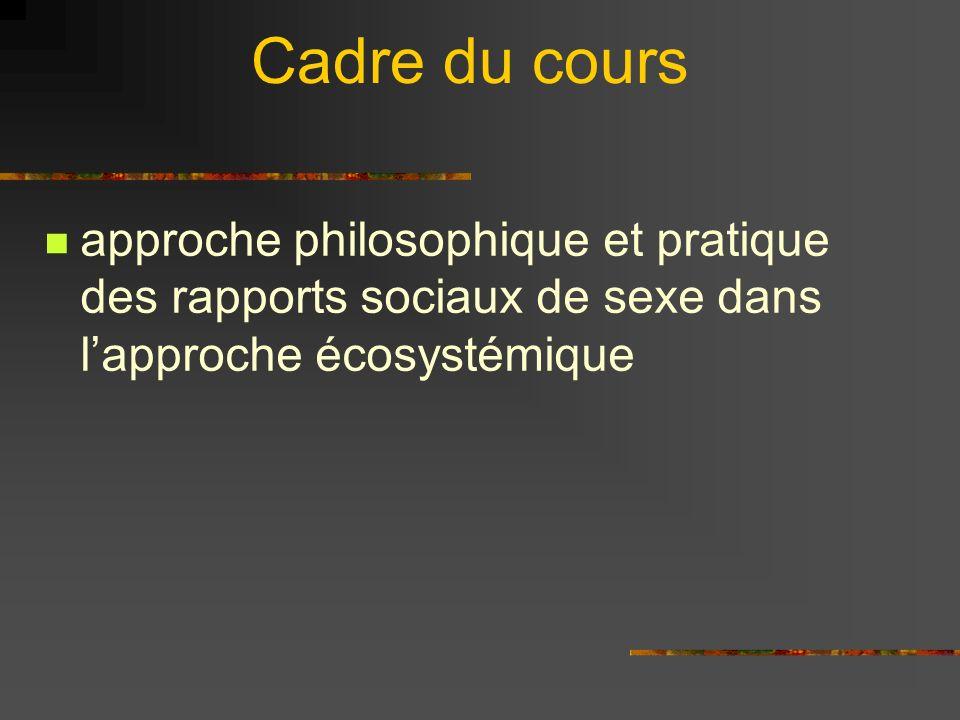 Cadre du cours approche philosophique et pratique des rapports sociaux de sexe dans lapproche écosystémique