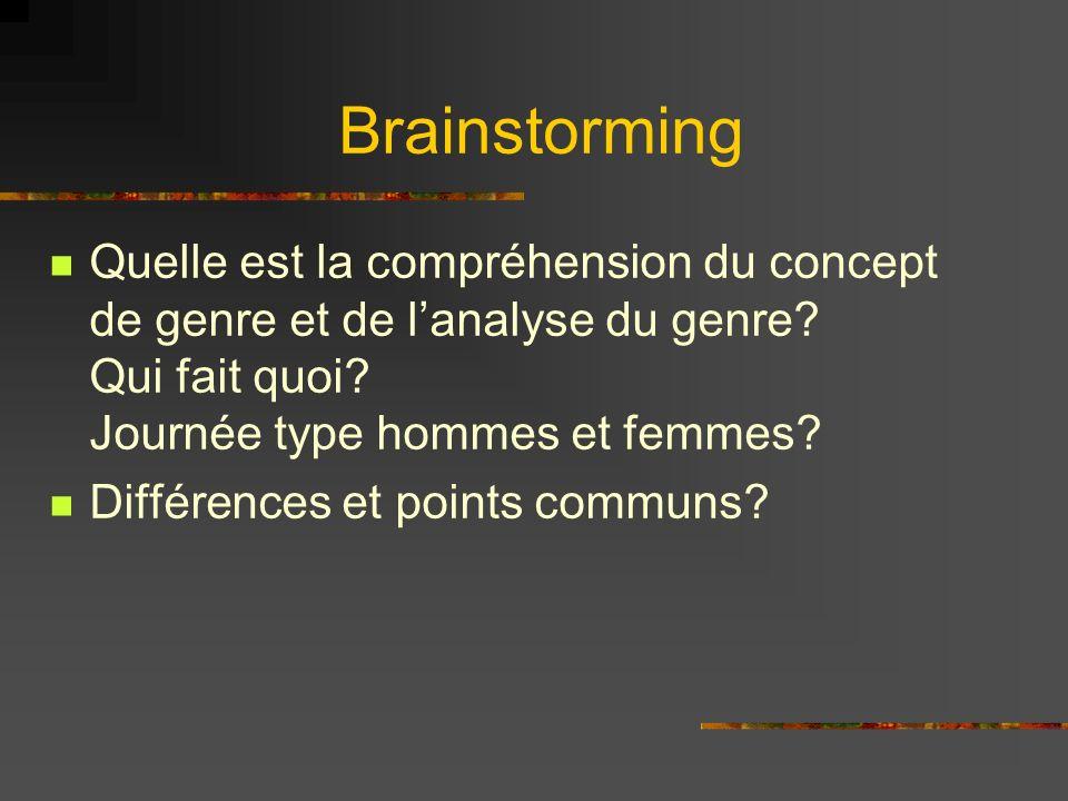Brainstorming Quelle est la compréhension du concept de genre et de lanalyse du genre.
