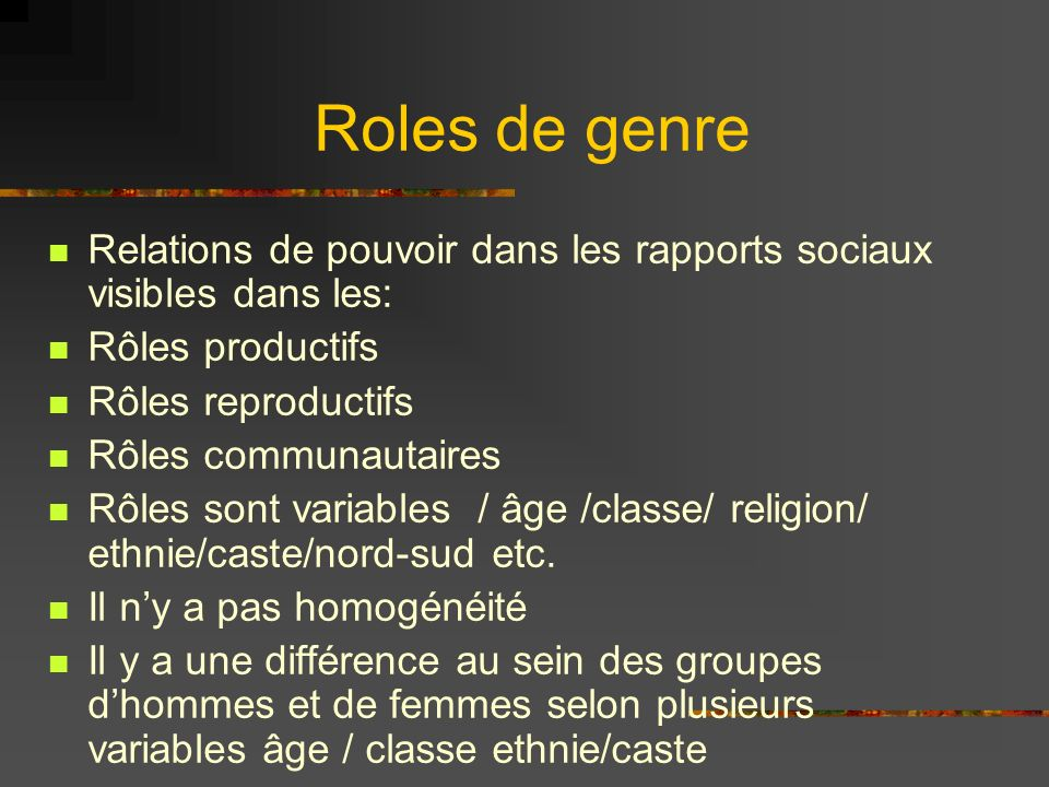 Roles de genre Relations de pouvoir dans les rapports sociaux visibles dans les: Rôles productifs Rôles reproductifs Rôles communautaires Rôles sont variables / âge /classe/ religion/ ethnie/caste/nord-sud etc.
