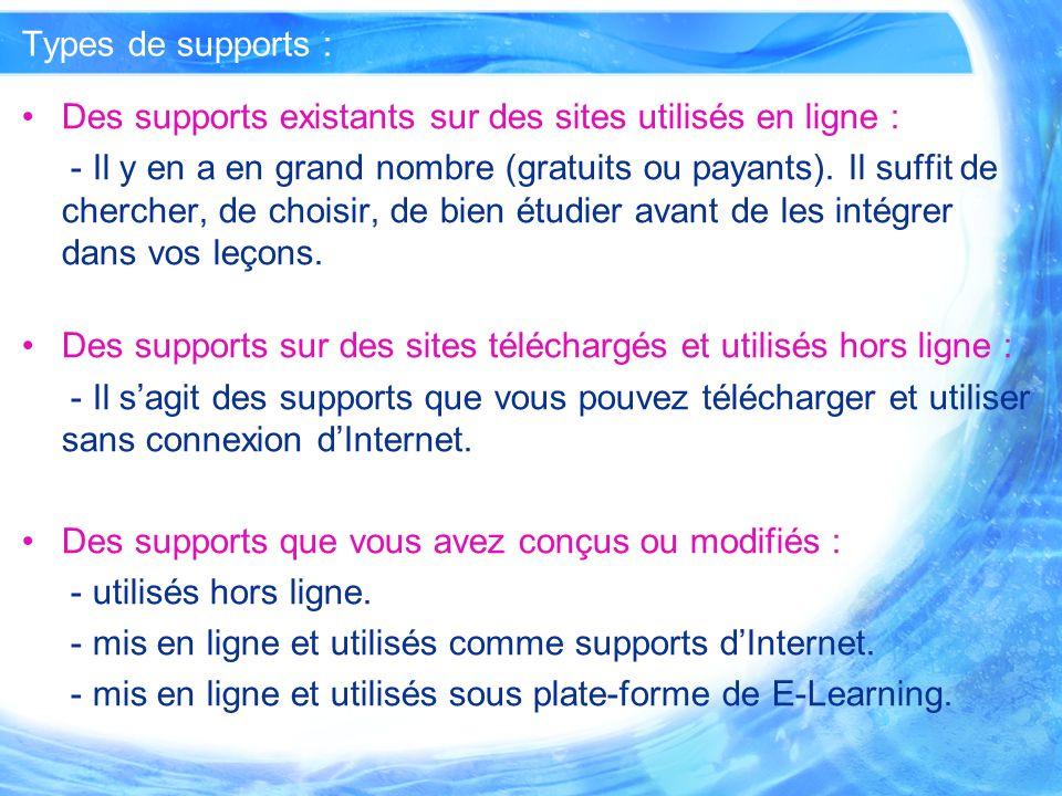 Exemples dutilistaion pour chaque type de supports : Des supports que vous avez conçus ou modifiés : - mis en ligne et utilisés comme supports dInternet : Apprendre le français : http://www.rn.ac.th/kk/sexe_faible.htm http://www.rn.ac.th/kk/sexe_faible.htm