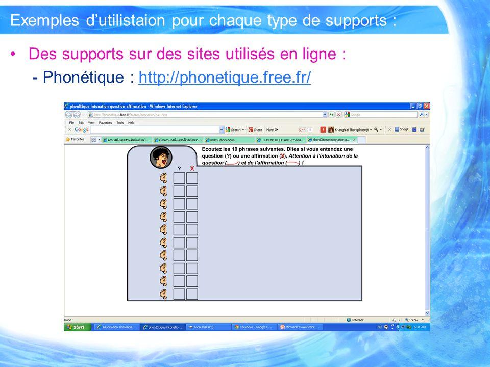 Exemples dutilistaion pour chaque type de supports : Des supports que vous avez conçus ou modifiés : - mis en ligne et utilisés comme supports dInternet : Apprendre le français : http://www.atpf- th.org/apprendre/kiosque2/unite3/index.htmlhttp://www.atpf- th.org/apprendre/kiosque2/unite3/index.html