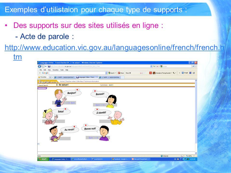 Exemples dutilistaion pour chaque type de supports : Des supports que vous avez conçus ou modifiés : - mis en ligne et utilisés sous plate-forme de E-Learning : E-Learning [LMS] à lécole Rachiniebourana : http://www3.rn.ac.th/moodle/index.php http://www3.rn.ac.th/moodle/index.php