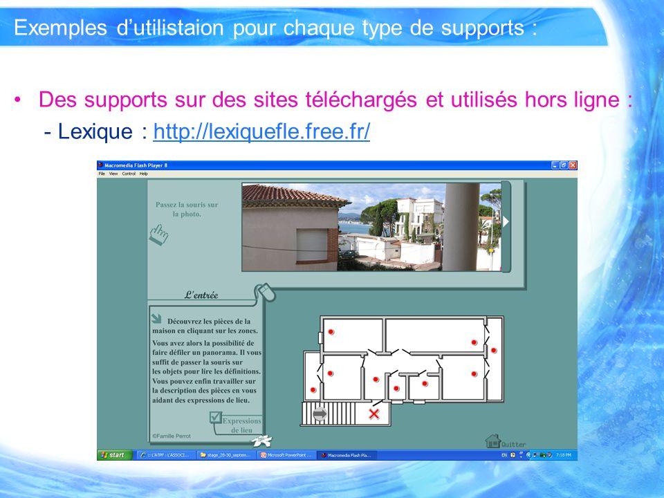 Exemples dutilistaion pour chaque type de supports : Des supports que vous avez conçus ou modifiés : - utilisés hors ligne : http://www.rn.ac.th/kk/jeux/memolang_1/memolang_1.htm http://www.rn.ac.th/kk/jeux/memolang_1/memolang_1.htm