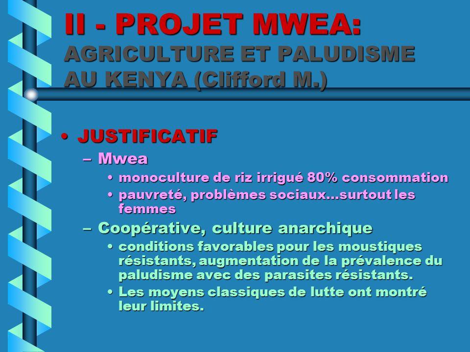 II - PROJET MWEA: AGRICULTURE ET PALUDISME AU KENYA (Clifford M.) JUSTIFICATIFJUSTIFICATIF –Mwea monoculture de riz irrigué 80% consommationmonocultur