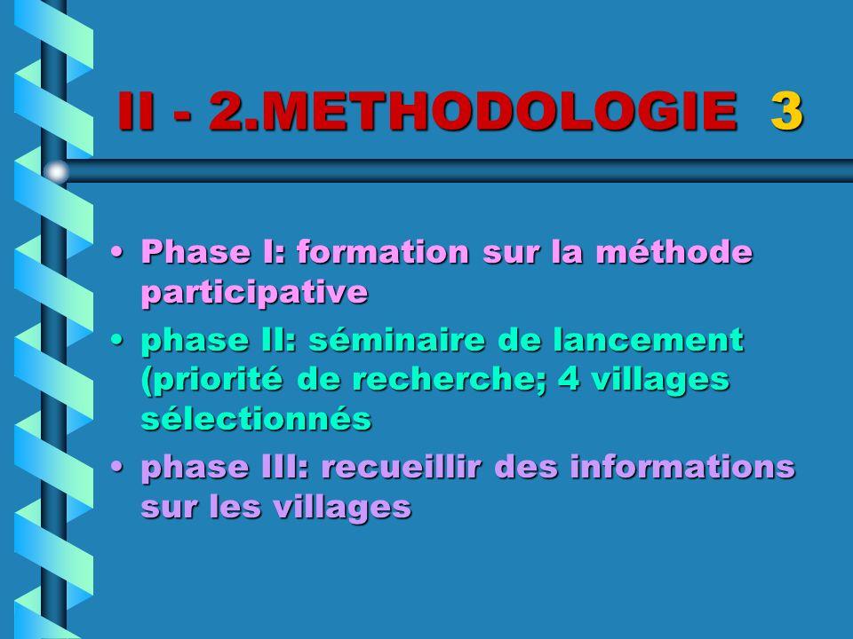 II - 2.METHODOLOGIE 3 Phase I: formation sur la méthode participativePhase I: formation sur la méthode participative phase II: séminaire de lancement