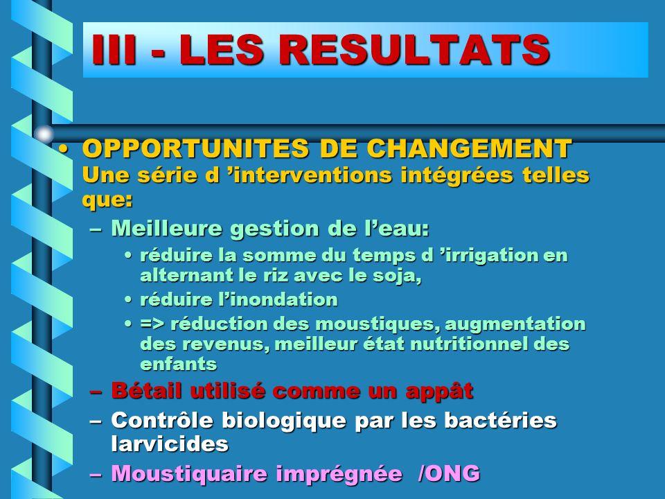 III - LES RESULTATS OPPORTUNITES DE CHANGEMENT Une série d interventions intégrées telles que:OPPORTUNITES DE CHANGEMENT Une série d interventions int