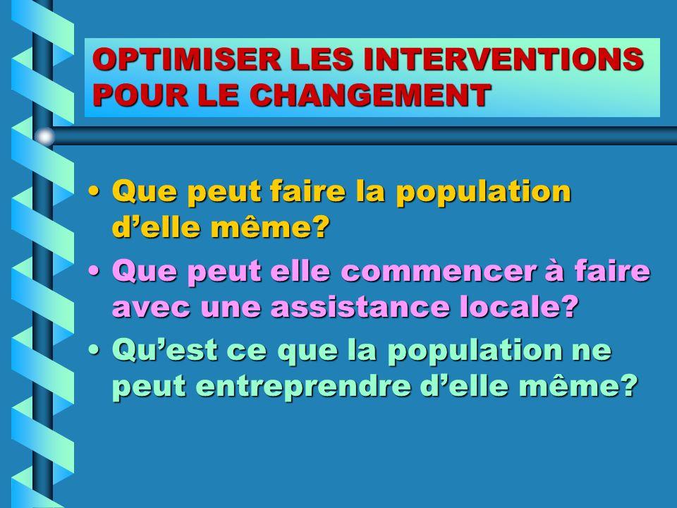 OPTIMISER LES INTERVENTIONS POUR LE CHANGEMENT Que peut faire la population delle même?Que peut faire la population delle même? Que peut elle commence