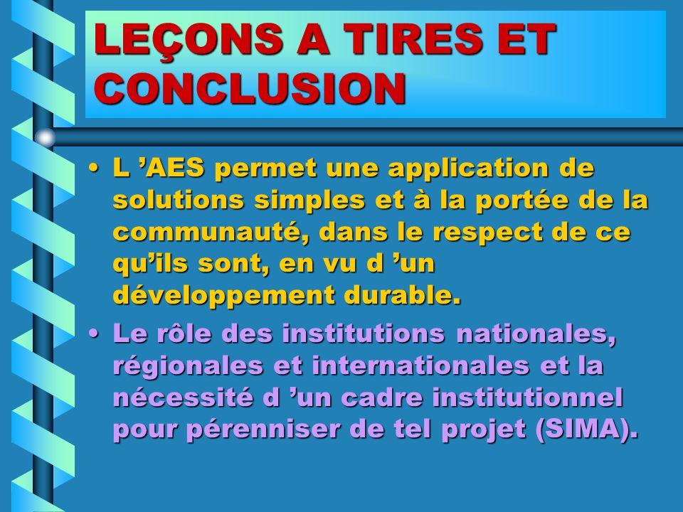 LEÇONS A TIRES ET CONCLUSION L AES permet une application de solutions simples et à la portée de la communauté, dans le respect de ce quils sont, en v
