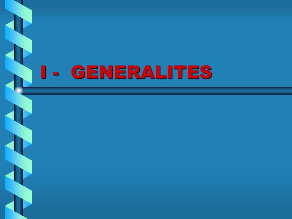 I - GENERALITES