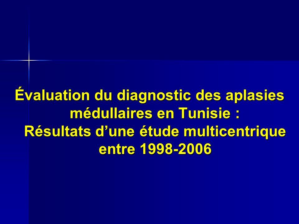 Évaluation du diagnostic des aplasies médullaires en Tunisie : Résultats dune étude multicentrique entre 1998-2006