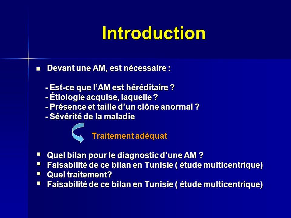 Introduction Devant une AM, est nécessaire : Devant une AM, est nécessaire : - Est-ce que lAM est héréditaire .