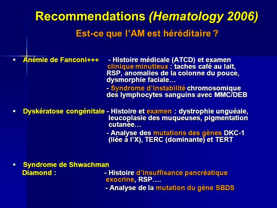 Recommendations (Hematology 2006) Est-ce que lAM est héréditaire ? Est-ce que lAM est héréditaire ? Anémie de Fanconi+++ - Histoire médicale (ATCD) et