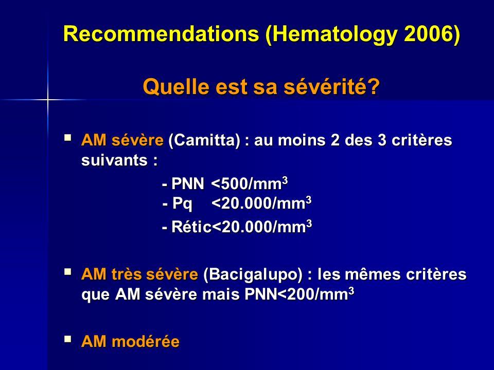 Recommendations (Hematology 2006) Quelle est sa sévérité? AM sévère (Camitta) : au moins 2 des 3 critères suivants : AM sévère (Camitta) : au moins 2