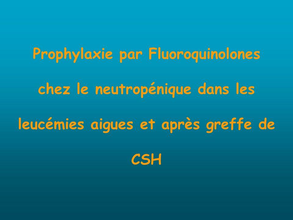 Prophylaxie par Fluoroquinolones chez le neutropénique dans les leucémies aigues et après greffe de CSH