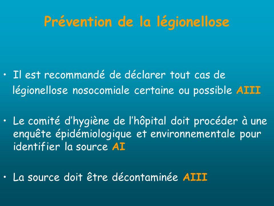 Prévention de la légionellose Il est recommandé de déclarer tout cas de légionellose nosocomiale certaine ou possible AIII Le comité dhygiène de lhôpi
