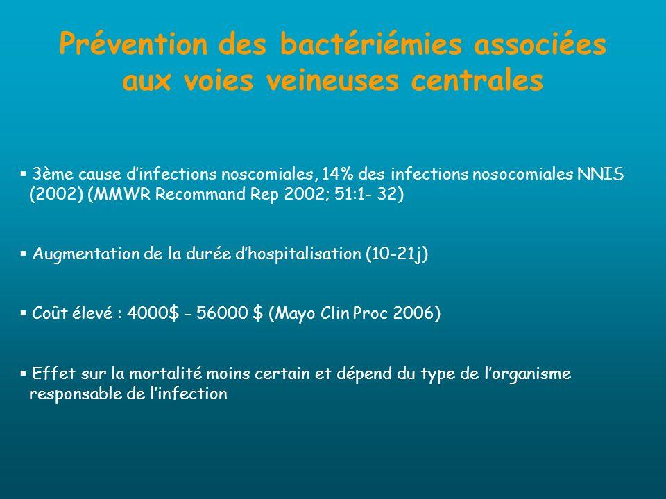Prévention des bactériémies liées aux voies veineuses centrales Recommandations du CDC 2008 (Infect Control Hosp Epidemiol 2008) Avant la pose Formation et évaluation périodique du personnel impliqué dans la pose, les soins et lentretien de la VVC (AII) Choix du cathéter - imprégné dhéparine réduction du nombre de BLVVC / KT non imprégnés associés à lhéparine standard en perfusion continue à doses iso-coagulantes (Abdelkefi et al.
