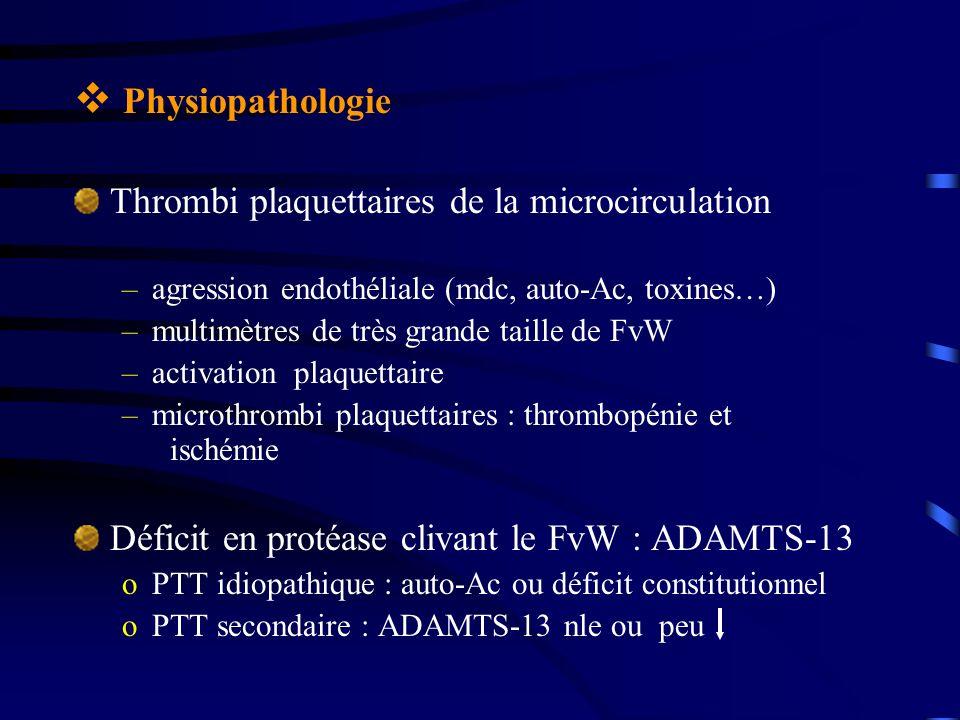 Physiopathologie Thrombi plaquettaires de la microcirculation –agression endothéliale (mdc, auto-Ac, toxines…) –multimètres de très grande taille de FvW –activation plaquettaire –microthrombi plaquettaires : thrombopénie et ischémie Déficit en protéase clivant le FvW : ADAMTS-13 oPTT idiopathique : auto-Ac ou déficit constitutionnel oPTT secondaire : ADAMTS-13 nle ou peu