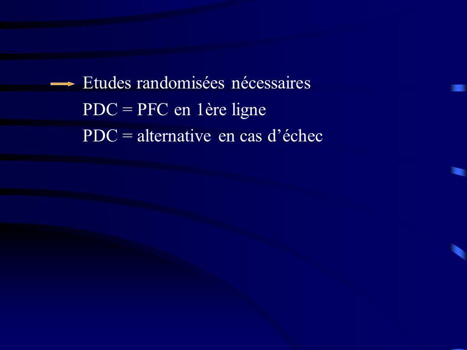 Etudes randomisées nécessaires PDC = PFC en 1ère ligne PDC = alternative en cas déchec