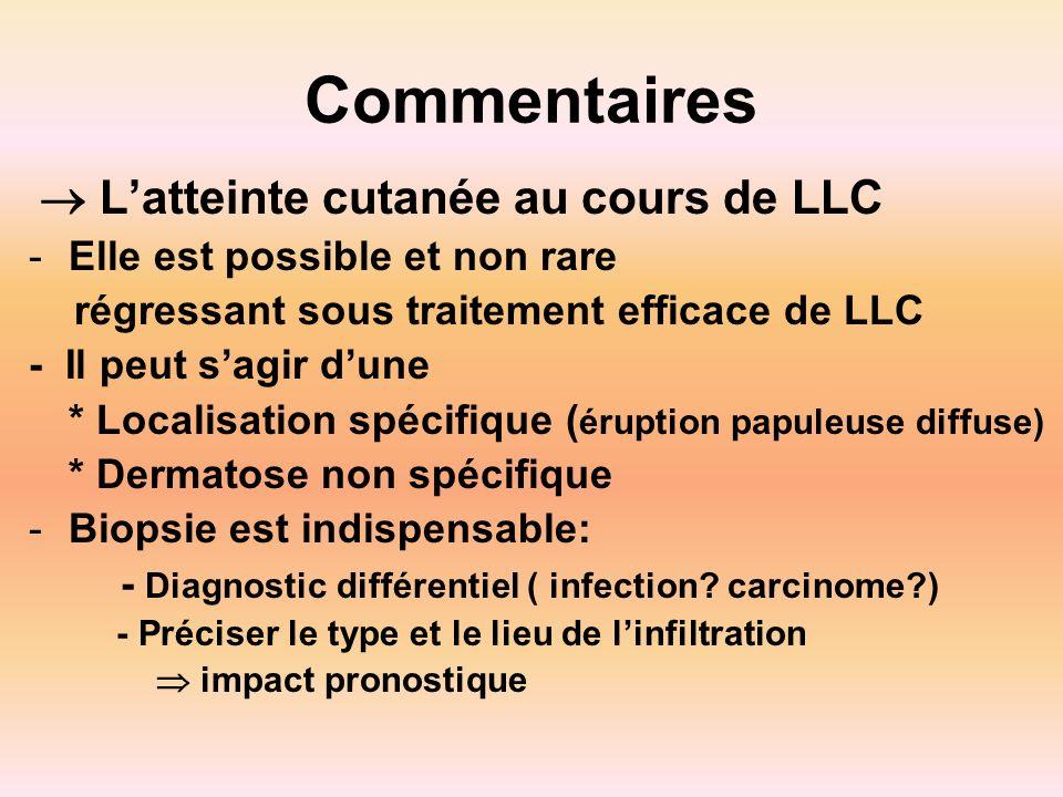Commentaires Latteinte cutanée au cours de LLC -Elle est possible et non rare régressant sous traitement efficace de LLC - Il peut sagir dune * Locali