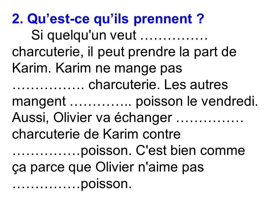 2.Quest-ce quils prennent . Si quelqu un veut …………… charcuterie, il peut prendre la part de Karim.