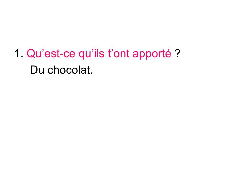 1. Quest-ce quils tont apporté ? Du chocolat.