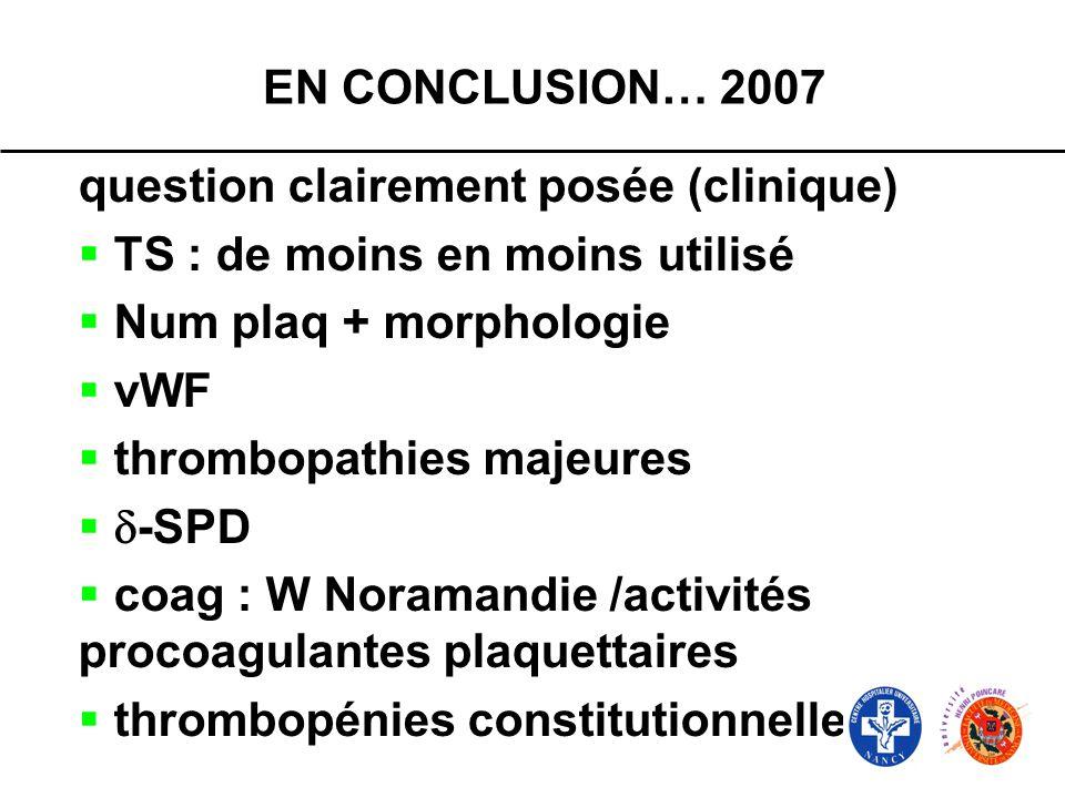 EN CONCLUSION… 2007 question clairement posée (clinique) TS : de moins en moins utilisé Num plaq + morphologie vWF thrombopathies majeures -SPD coag :
