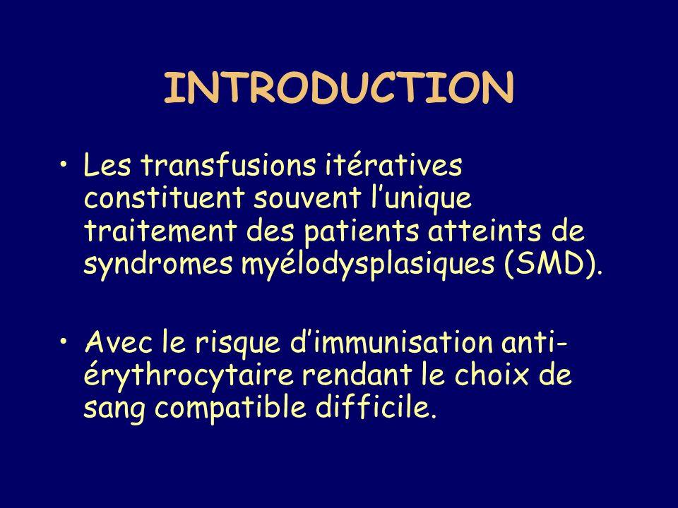 Nombreuses anomalies immunitaires accompagnant les SMD ont déjà été décrites : –Gammapathies monoclonales, –augmentation Ig sériques, –hypoglobulinémies, –auto-anticorps spécifiques et non spécifiques dorganes.