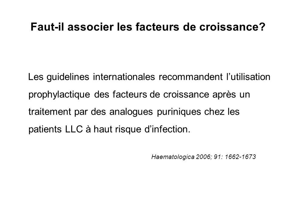 Faut-il associer les facteurs de croissance? Les guidelines internationales recommandent lutilisation prophylactique des facteurs de croissance après