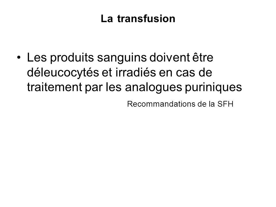 La transfusion Les produits sanguins doivent être déleucocytés et irradiés en cas de traitement par les analogues puriniques Recommandations de la SFH