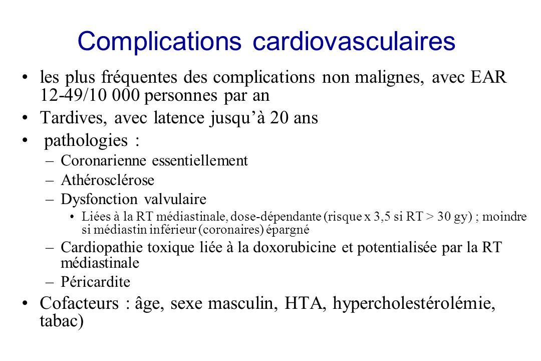 Complications cardiovasculaires les plus fréquentes des complications non malignes, avec EAR 12-49/10 000 personnes par an Tardives, avec latence jusq