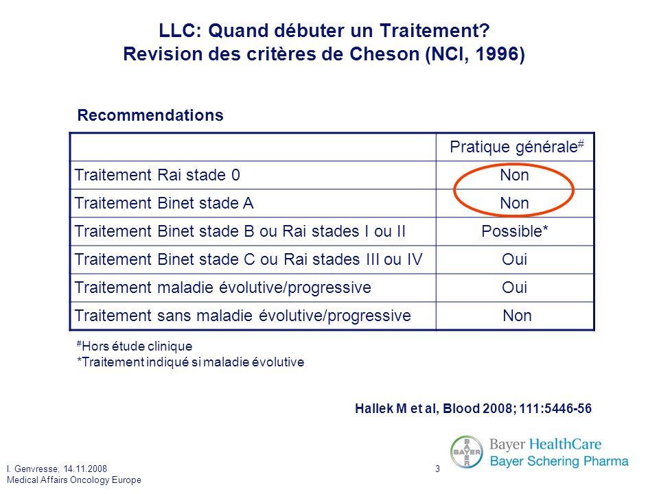I. Genvresse, 14.11.2008 Medical Affairs Oncology Europe 3 LLC: Quand débuter un Traitement? Revision des critères de Cheson (NCI, 1996) Hallek M et a