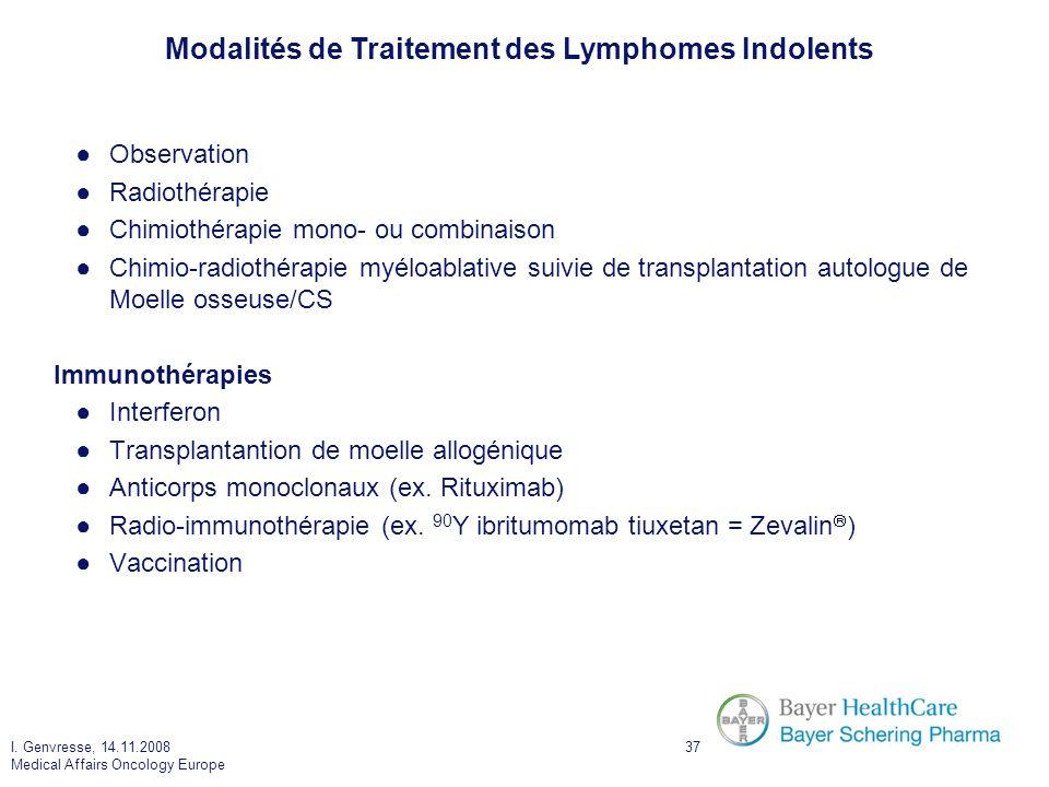 I. Genvresse, 14.11.2008 Medical Affairs Oncology Europe 37 Observation Radiothérapie Chimiothérapie mono- ou combinaison Chimio-radiothérapie myéloab