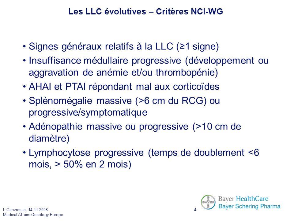I. Genvresse, 14.11.2008 Medical Affairs Oncology Europe 4 Les LLC évolutives – Critères NCI-WG Signes généraux relatifs à la LLC (1 signe) Insuffisan