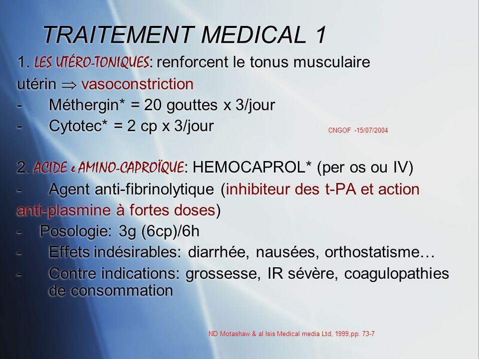 TRAITEMENT MEDICAL 1 1. LES UTÉRO-TONIQUES : renforcent le tonus musculaire utérin vasoconstriction -Méthergin* = 20 gouttes x 3/jour -Cytotec* = 2 cp