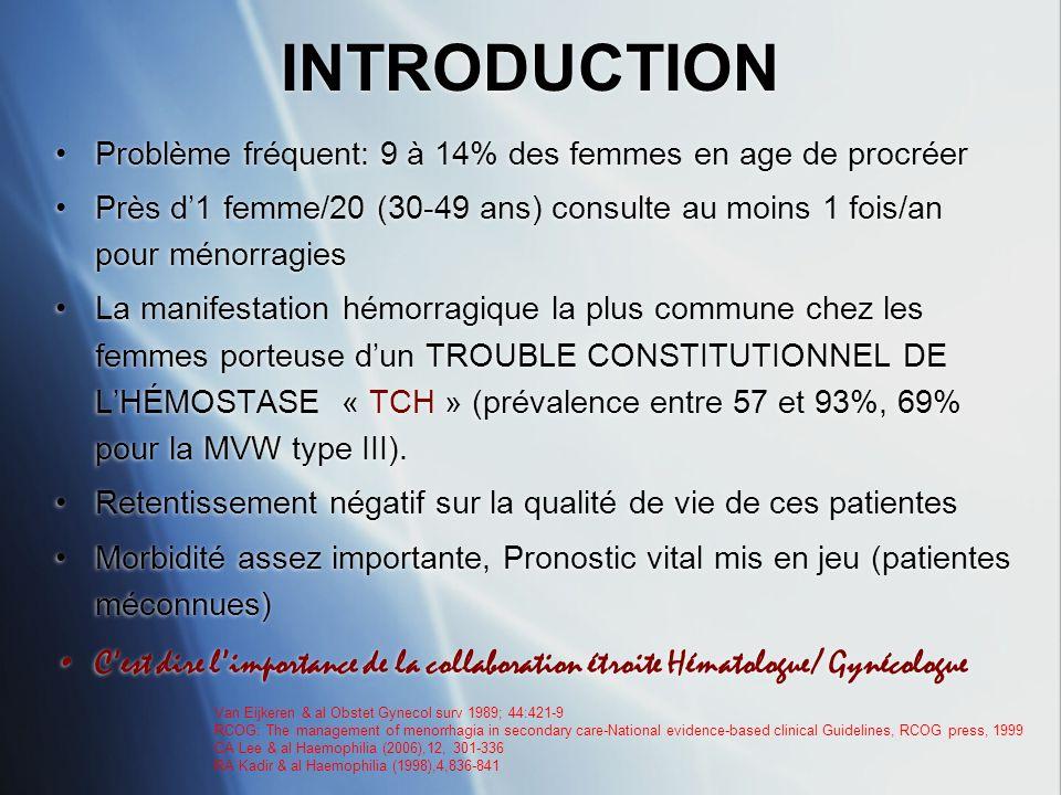 TRAITEMENT CHIRURGICAL 3 * PRECAUTIONS DUSAGE LORS DUNE CHIRURGIE: -Risque hémorragique per et post opératoire (7 à 14 j) -TTT préventif par Desmopressine* ou correction par substitution des facteurs déficients -Surveillance clinique et monitorage des taux de facteurs de coagulation en post-opératoire jusquà j 10- j 14 -Attention particulière à lhémostase per opératoire -Drainage post opératoire recommandé -Prise en charge multi- disciplinaire -Chirurgien expérimenté * PRECAUTIONS DUSAGE LORS DUNE CHIRURGIE: -Risque hémorragique per et post opératoire (7 à 14 j) -TTT préventif par Desmopressine* ou correction par substitution des facteurs déficients -Surveillance clinique et monitorage des taux de facteurs de coagulation en post-opératoire jusquà j 10- j 14 -Attention particulière à lhémostase per opératoire -Drainage post opératoire recommandé -Prise en charge multi- disciplinaire -Chirurgien expérimenté CA Lee & al Haemophilia (2006),12, 301-336 PA Kouides Best Practice & Research 2001; 14 (2): 381-399 SOGC Guidelines Juillet 2005 RA Kadir & al fertility Sterility 2005; 84(5): 1352-1359