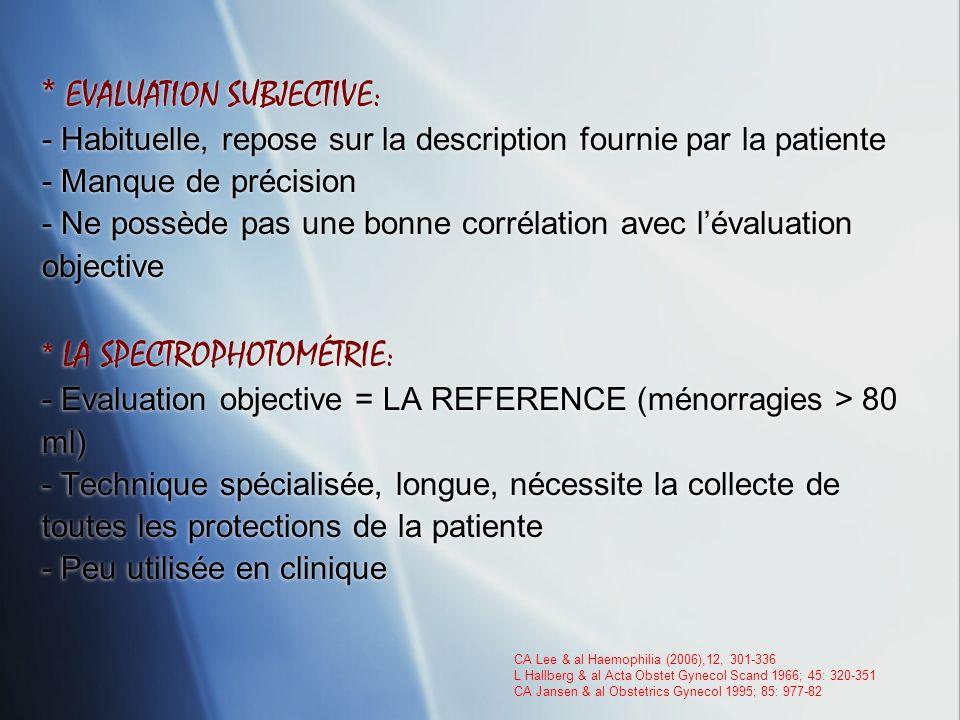 * EVALUATION SUBJECTIVE: - Habituelle, repose sur la description fournie par la patiente - Manque de précision - Ne possède pas une bonne corrélation