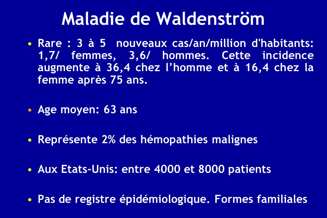 FCG CLL/WM, GELA, GOELAMS in collaboration with Roger Owen and Steve Johnson UK Centers 414 patients: UK+Australia: 214 / France: 200 Number of patients Véronique LeblondCoordinator Groupe Coopératif Français sur la Leucémie Lymphoïde Chronique Sponsor Randomized phase IIIStudy WM and closely related disorders ( LPL, MZL) requiring treatment Patients Waldenströms Macroglobulinemia – 1 st line WM1 (UK, Australia, France) Biological study Secondary end point Chlorambucil 8 mg/m 2 D1-D10 /month x 12 max Fludarabine (oral) 40 mg/m 2 D1-D5/month x 6 max Treatment To compare the efficacy of chlorambucil to that of fludarabine response rate Primary end point versus