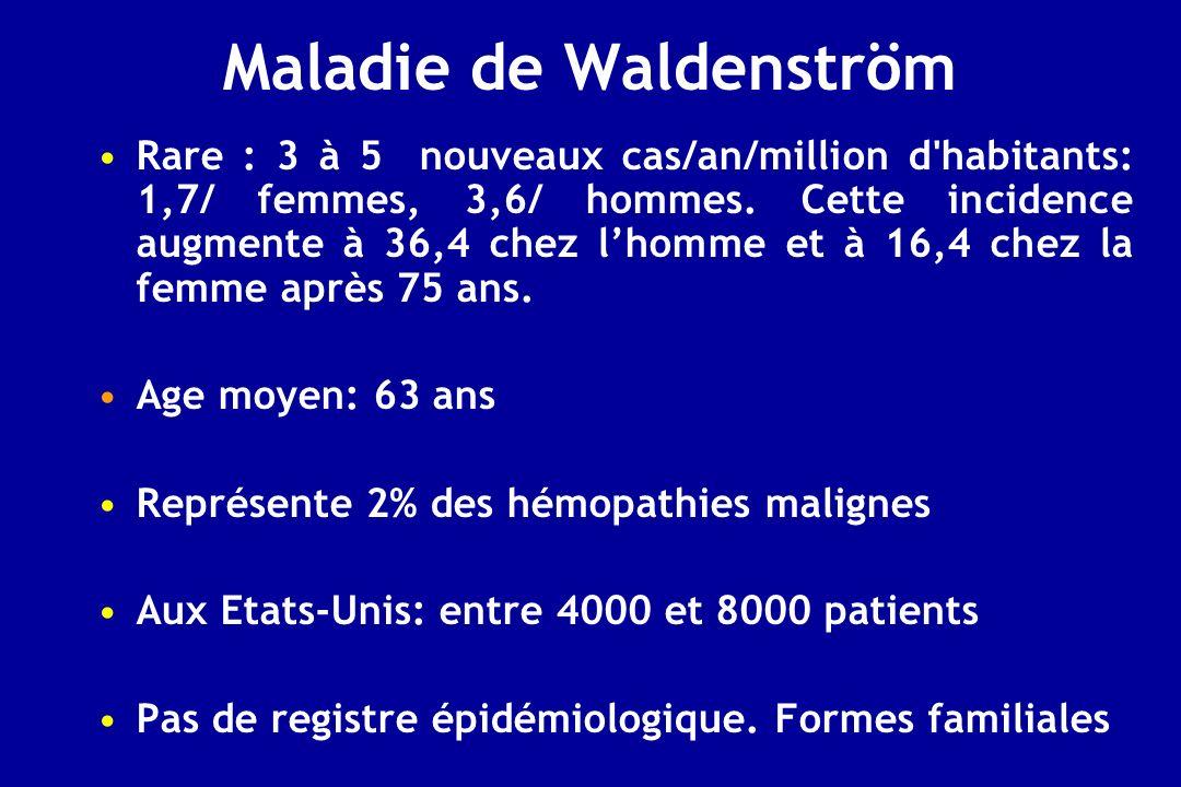 Maladie de Waldenström Rare : 3 à 5 nouveaux cas/an/million d'habitants: 1,7/ femmes, 3,6/ hommes. Cette incidence augmente à 36,4 chez lhomme et à 16