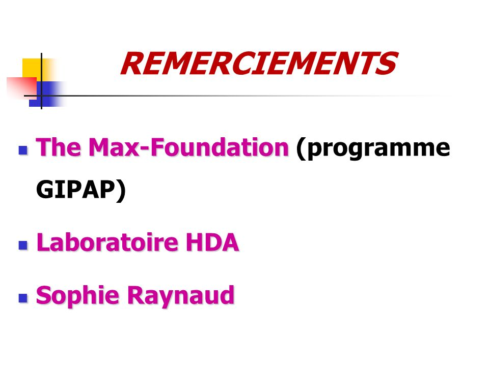 REMERCIEMENTS The Max-Foundation The Max-Foundation (programme GIPAP) Laboratoire HDA Laboratoire HDA Sophie Raynaud Sophie Raynaud